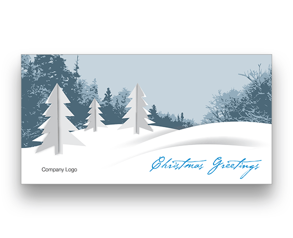 White Christmas Trees Christmas Card