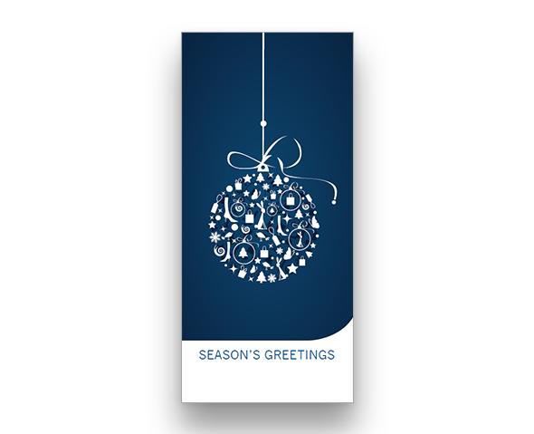 Blue Bauble Christmas Card