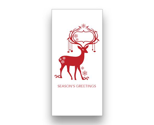 Red Reindeer (vertical) Christmas Card