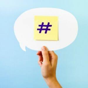 Quotation bubble hashtag symbol