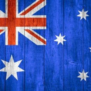 Australian flag on wood material