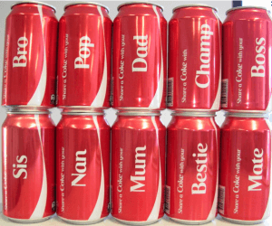 Customised Coca-Cola cans
