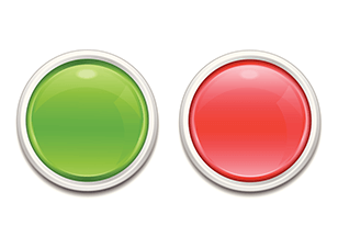Green red circle buttons