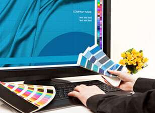 Website design with colour swatches