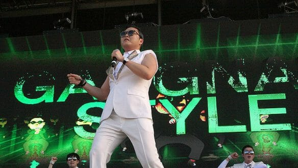 Psy performing Gangnam Style at the Future Music Festival 2013