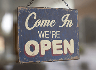 Signage design tips - come in we're open