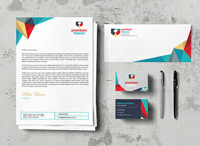 printed letterheads, with compliments slips and business cards