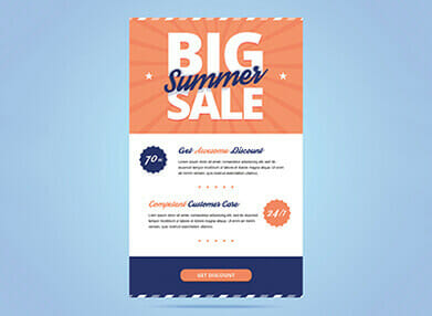 design of email promoting a sale