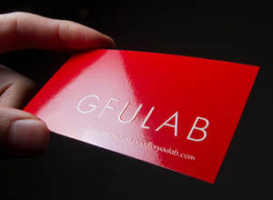 red high gloss laminated business card