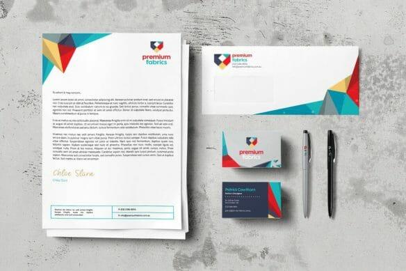 business stationery on grey background