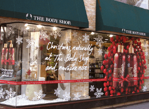 the body shop christmas shop front display