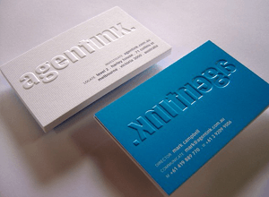 Embossed Business Cards: white and blue