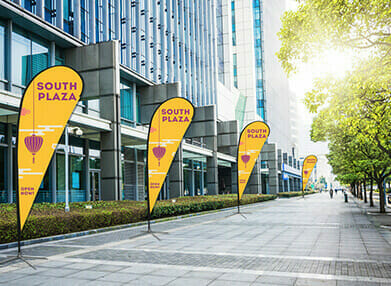 Outdoor tear drop feather banners