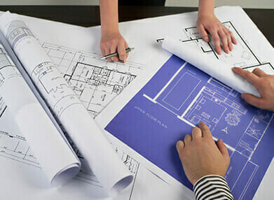 Printed architect or building plans