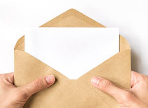 opening direct mail envelope