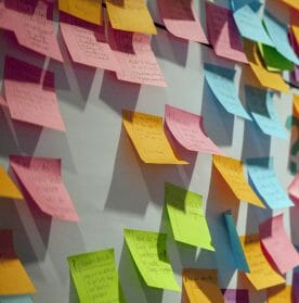Project planning with sticky notes