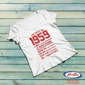 White tshirt printed with red text