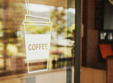 Shop front signage: coffee decal sign