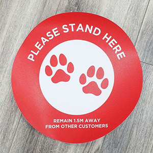 Floor decals for a veterinary clinic printed by Kwik Kopy Clayton