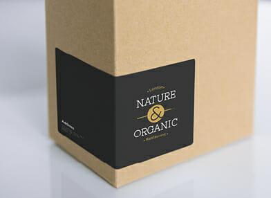 Sticker label on box