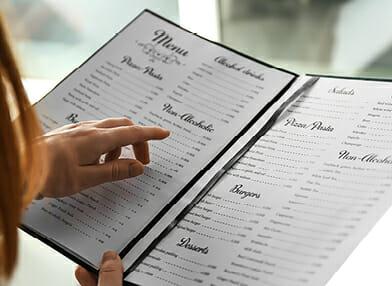 View a printed menu