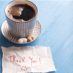 Personalised Thank you note with coffee