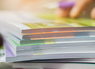 Stack of colour printing and colour photocopying